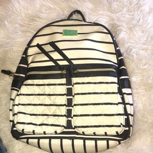 BETSY JOHNSON BLACK AND CREAM STRIPED BACKPACK